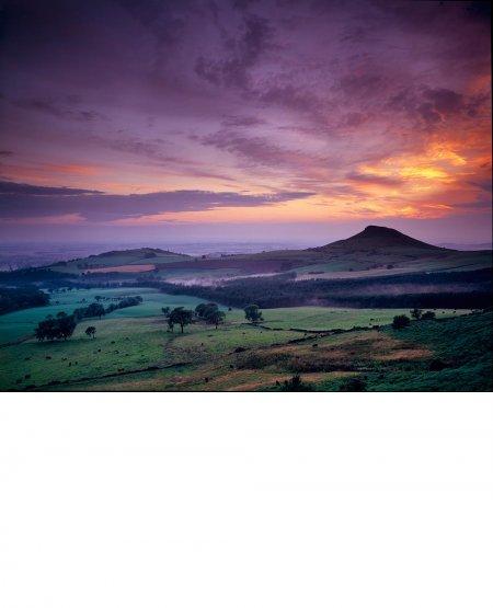 Mist over Slack's Wood, summer dusk, North York Moors