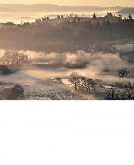 Misty sunrise, River Brathay Lake District