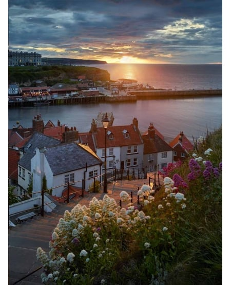 Whitby, summer solstice sunset
