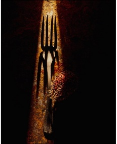 Strong directional light suffusing through a rusty fork