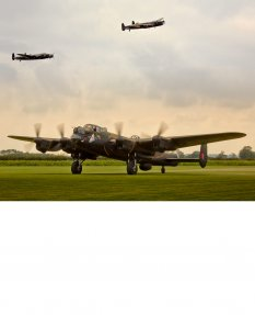 Three Lancaster Bombers Print, East Kirkby Airfield