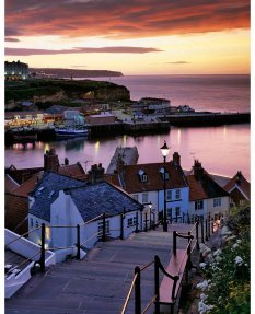 Whitby harbour, summer twilight  North Yorkshire Coast