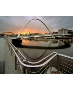 Millennium Bridge, approaching sunset