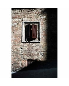 Wooden shutters, evening sunlight, Siena, Tuscany