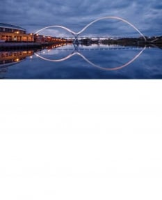 Infinity bridge, twilight - Greetings Card