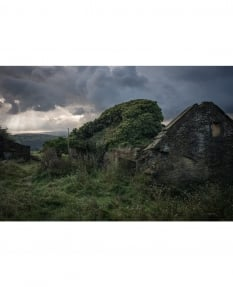 Far Nook: a derelict overgrown farm with moment of dramatic light (from the Nay More series)